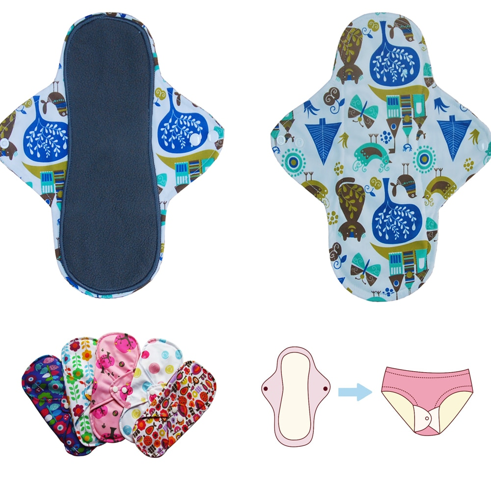Wholesale 50pcs Waterproof Menstrual Pads Reusable Bamboo Charcoal Fleece Sanitary Liners Napkin Day & Night Girlish Designs