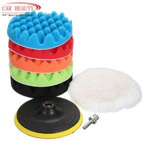Image 1 - Автомобильная Губка 4/5/3/8 Для Полировки Автомобиля, набор полировальных накладок для воска (5 полировальных накладок + 1 шерстяной буфер + 1 клейкая Задняя накладка)