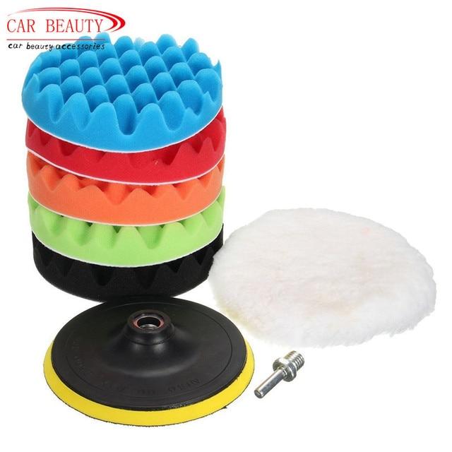 Автомобильная Губка 4/5/3/8 Для Полировки Автомобиля, набор полировальных накладок для воска (5 полировальных накладок + 1 шерстяной буфер + 1 клейкая Задняя накладка)