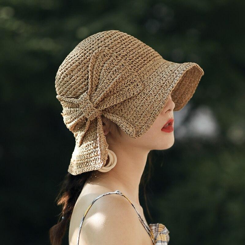 Sombrero de sol hecho a mano 100% Raffia lazo ala ancha sombreros de verano flexibles para mujer playa Panamá sombrero de cubo de paja sombrero de sombra para mujer