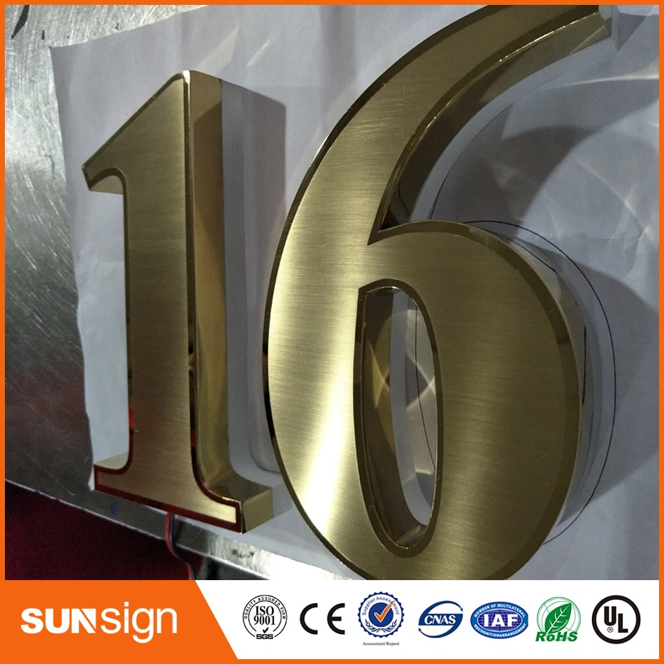 H 35cm High Bright Waterproof 304# Stainless Steel Led 3D Backlit Sign Logo