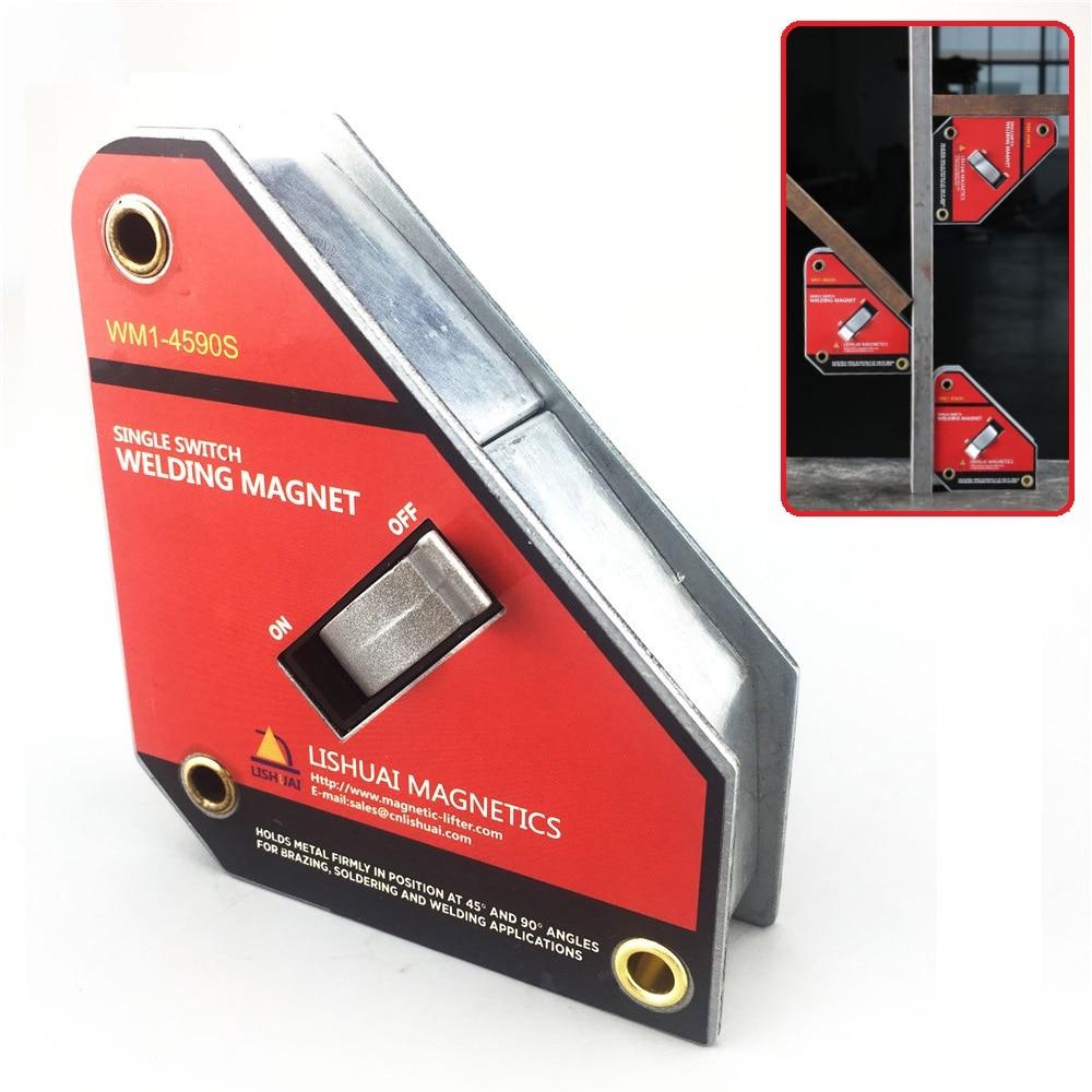 LISHUAI Неодимовый сварочный магнитный держатель ВКЛ./ВЫКЛ. Магнитный зажим/магнит квадратный 45 90 градусов маленький размер сильный одиночный ...