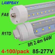 4-100/paquet tube de lumière LED en forme de V 270 ampoule ange 8 pieds 2.4m 48W 64W FA8 R17D (HO) T8 T12 F96 lampe fluorescente Super lumineuse
