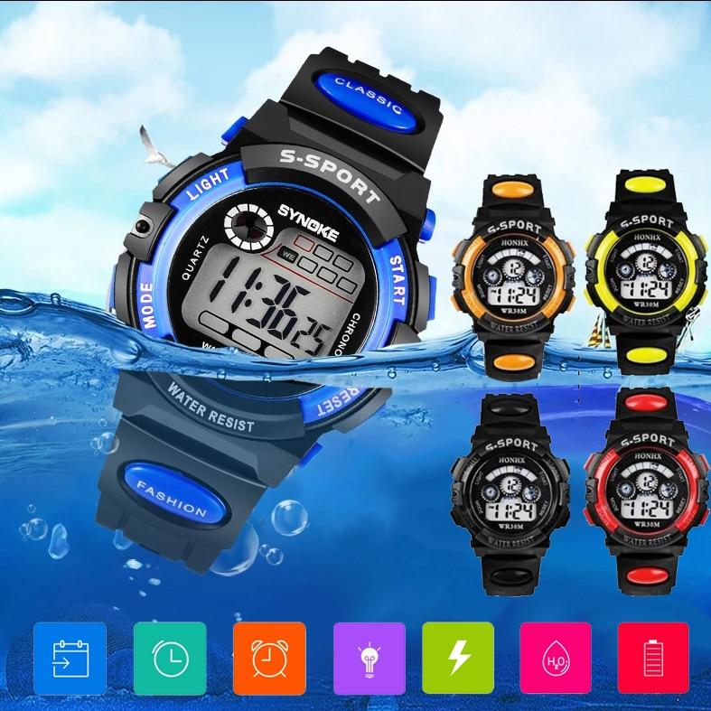Electronic Quartz Wrist Watch dropship Fashion Waterproof Children Kids Boy Watches Digital LED Quar