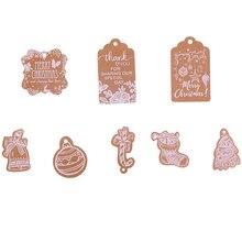 Etiquettes suspendues en papier pour père noël   50 pièces, étiquettes cadeaux Kraft, flocon de neige, décoration pour arbre de noël, bricolage