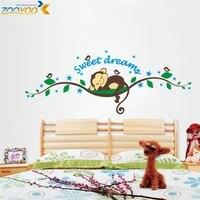 Autocollants muraux en forme De singe  dessin anime  doux reve  pour chambre denfant  decoration De la maison  Diy bricolage  1203