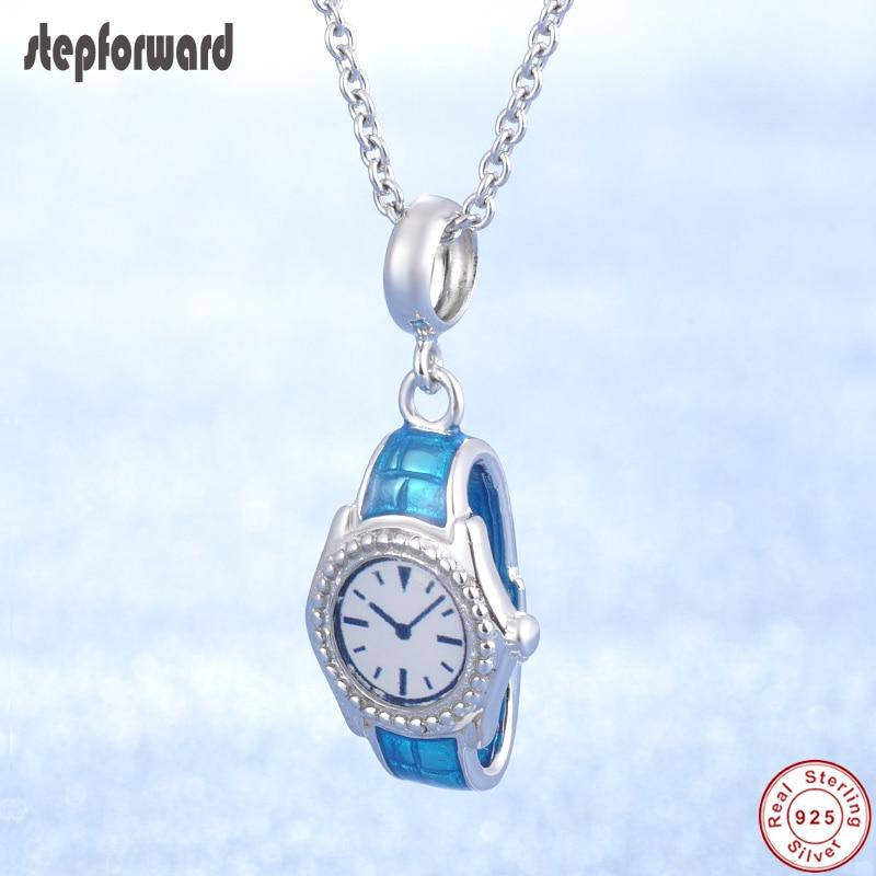 Populaire Mode Nieuwe Blue Enamel Horloge Originele Kettingen Ontwerp 100% 925 Sterling Zilveren Horloge Charm Ketting Mooie Sieraden Gift