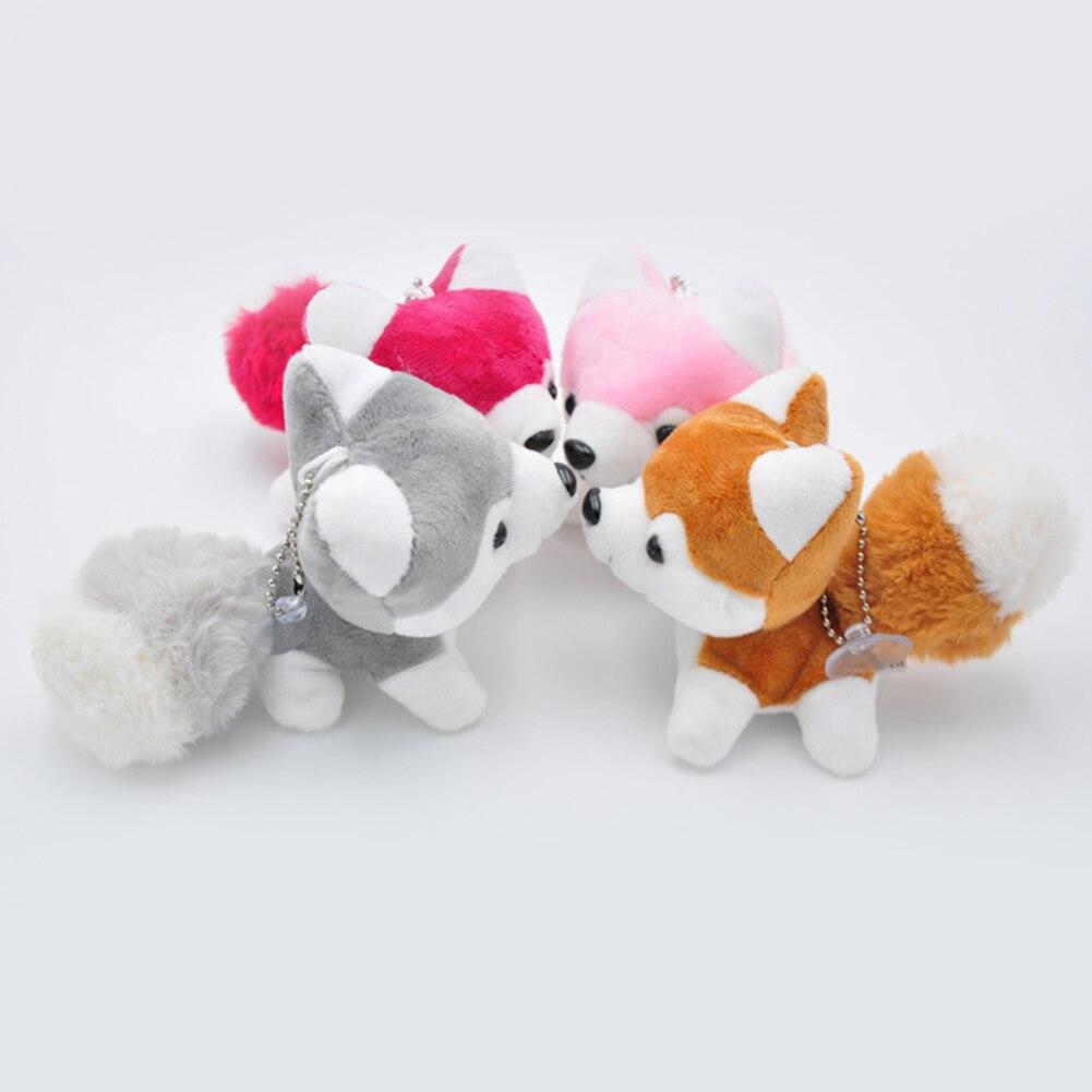 Bonito pequeno husky cão boneca de pelúcia brinquedo chaveiro chaveiro pingente saco chave do carro titular bonito pingente chaveiro pingente jóias