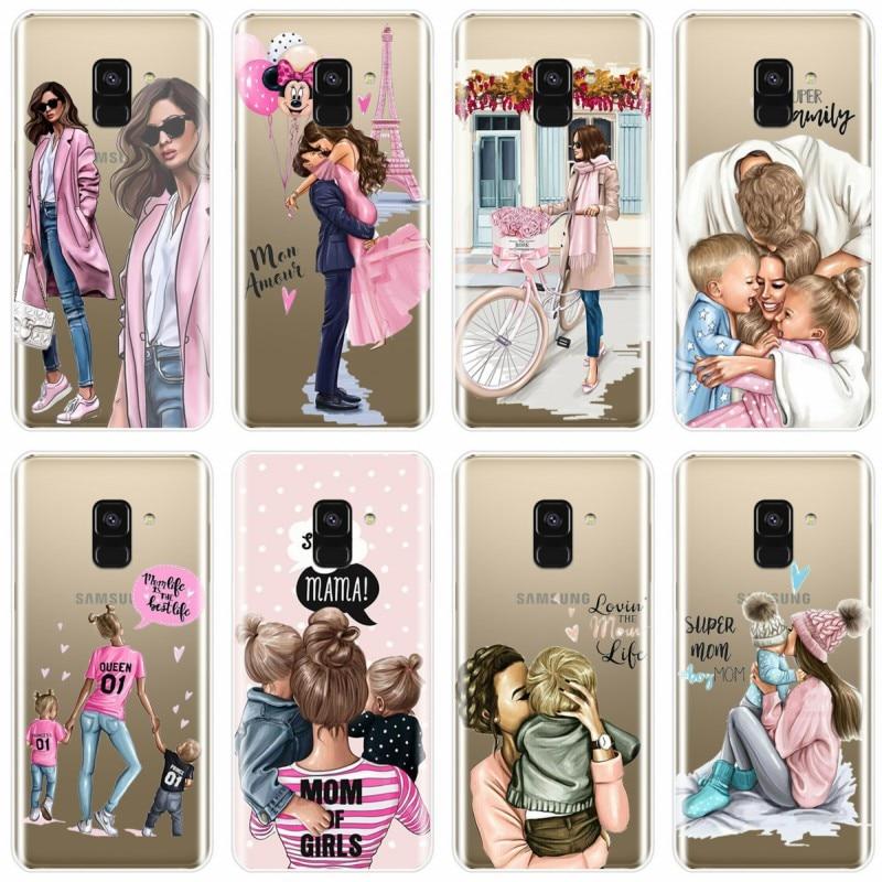 Moda Black Brown Cabelo Do Bebê Mãe Rainha Menina Caixa Do Telefone Para Samsung Galaxy A7 A8 A9 A8Plus 2018 A3 A5 A72016 A3 A5 A7 2017 A9