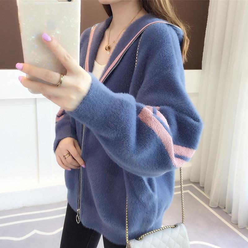 Suéter con capucha Cárdigan para mujer 2020 nuevo mink velvet Han edition suelto Otoño Invierno grueso tejido lazy wind coat Mujer