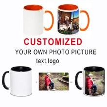 Tasse à café photo personnalisée   Bricolage, tasses de thé au lait à poignée multicolores avec impression de texte de LOGO à image personnalisée