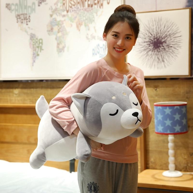New Huge 35-75CM Cute Corgi & Shiba Inu Dog Plush Toy Kawaii Lying Husky Pillow Stuffed Soft Animal Doll Children Baby Gift