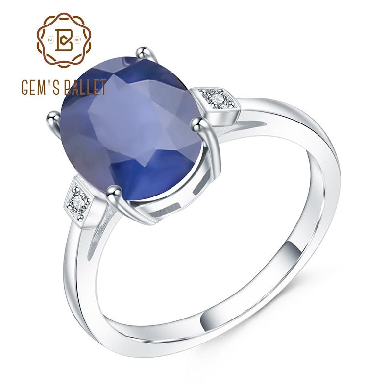 Ballet 4.78ct oval natural azul safira pedra preciosa anel de dedo 925 prata esterlina anéis de casamento para mulheres jóias finas