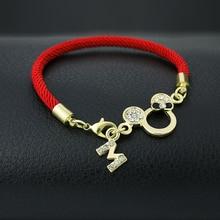 New Arrive Black Bow Mickey Head Red String Bracelets Lucky Red Thread Women Jewelry Pierced Charm Bracelet