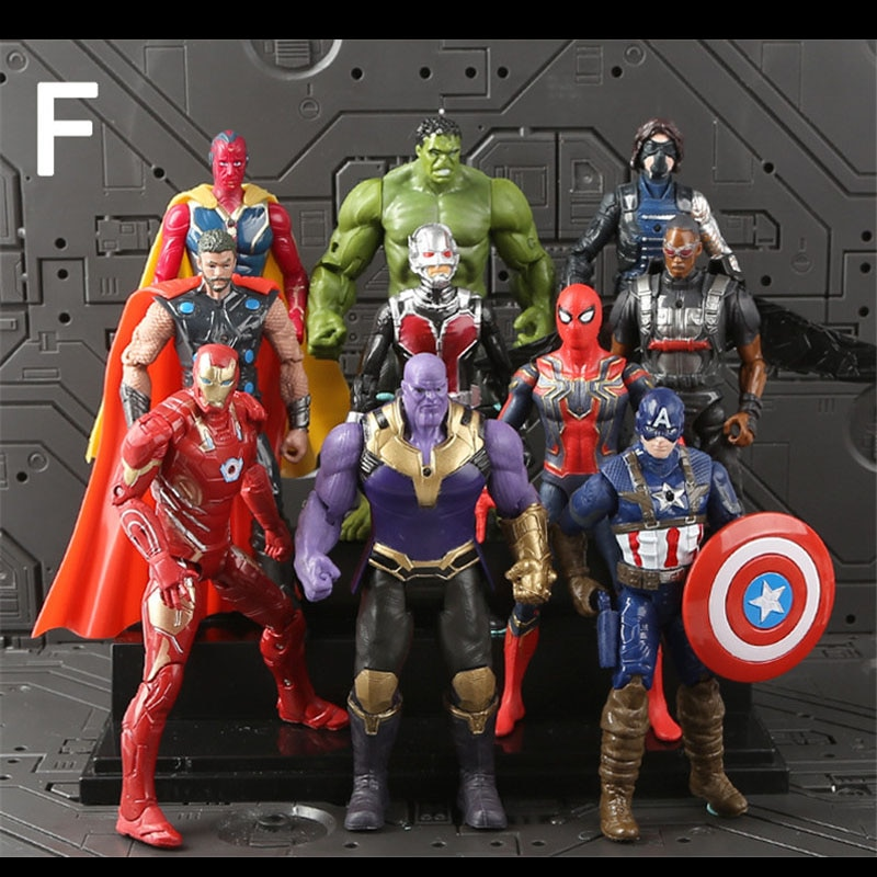 10pcs The Avengers 4 Endgame Figuras Vision + Ant-Man +Thor+ Winter Soldier Thanos Ironman Spiderman Hulk Falcon Captain America