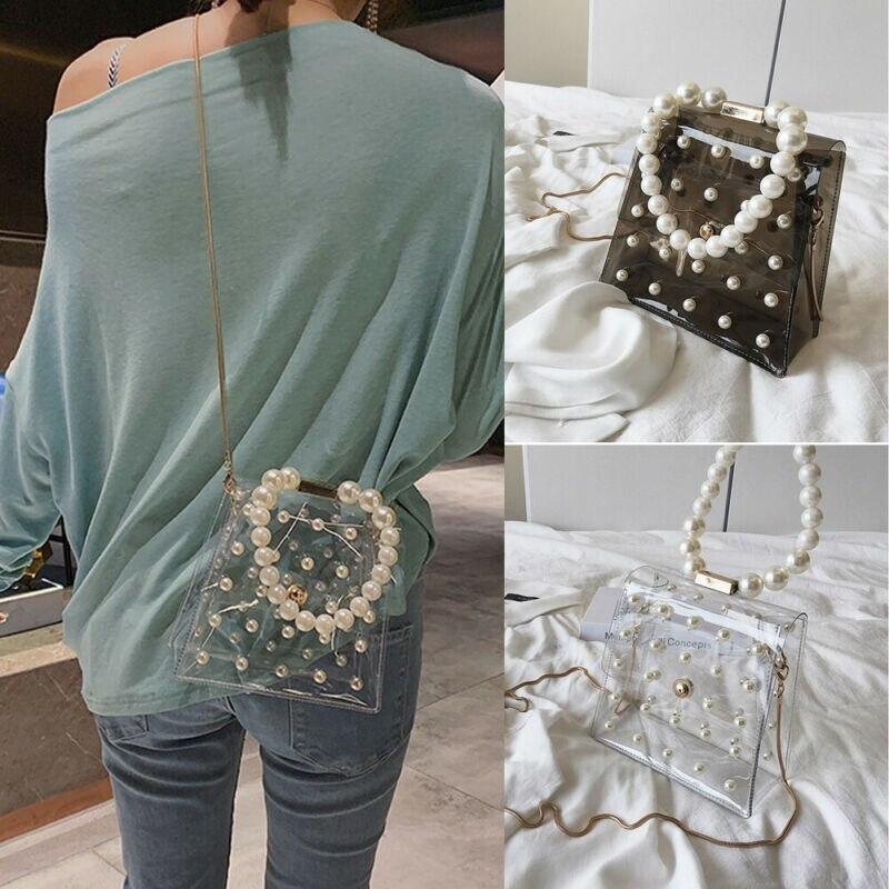 Bolso de mano con correa de perlas para mujer, bolso de hombro transparente de PVC, bolso de mano de gelatina de Color caramelo, bolso de hombro tipo bandolera