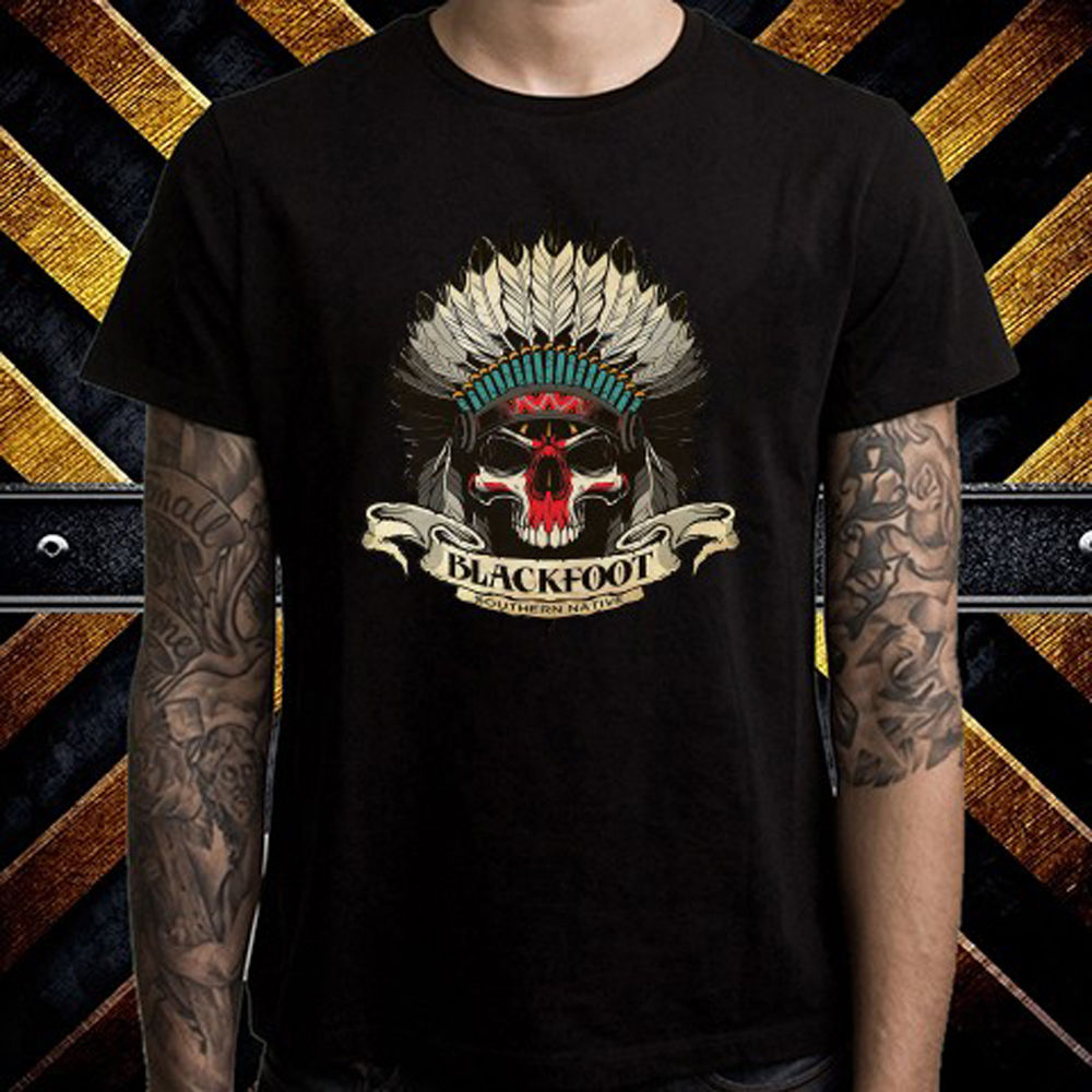 BLACKFOOT, camiseta negra de banda de Rock nativo del Sur para hombre, talla S-3XL, camiseta de manga corta de verano para hombre