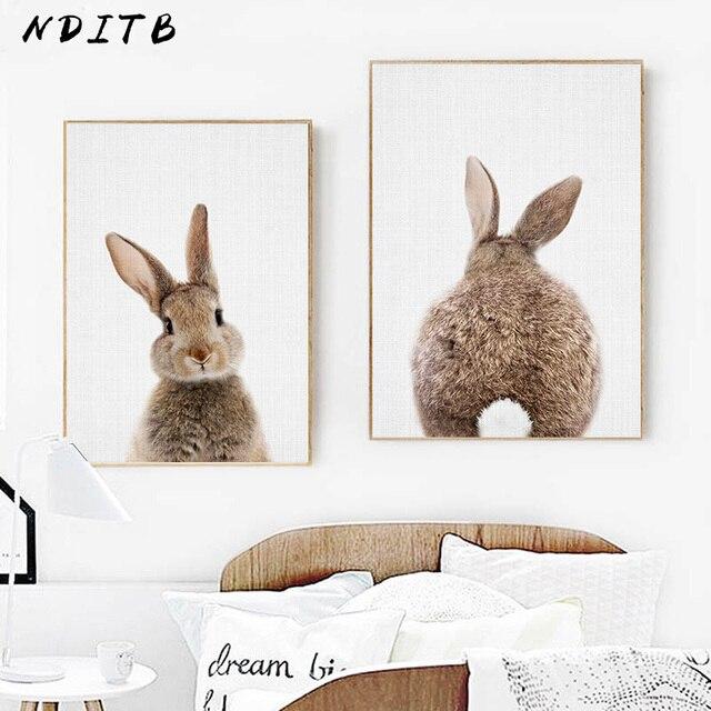 Póster De Cola De Conejo Para Decoración De La Habitación Del Bebé Impresión En Lona De