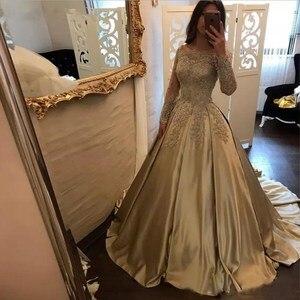 Женское вечернее платье с длинным рукавом, бальное платье цвета шампанского с аппликацией из бисера, в мусульманском стиле, для выпускного ...