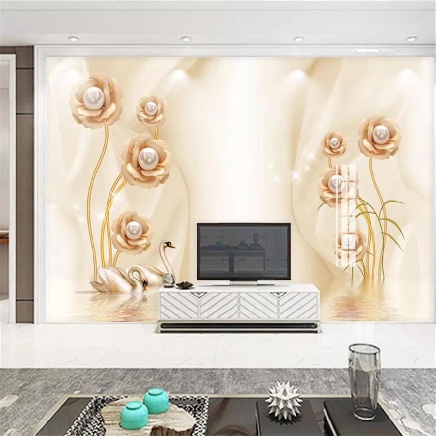 Custom wallpaper 3d murals swan flower water pattern jewelry TV background wall papers home decor papel de parede
