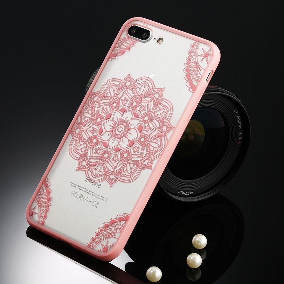 Sexy retro floral phone case dla apple iphone 7 6 6 s 5 5S SE Plus Koronki Kwiat Dysk PC + TPU Przypadki Back Cover Capa Dla iPhone7Plus 12