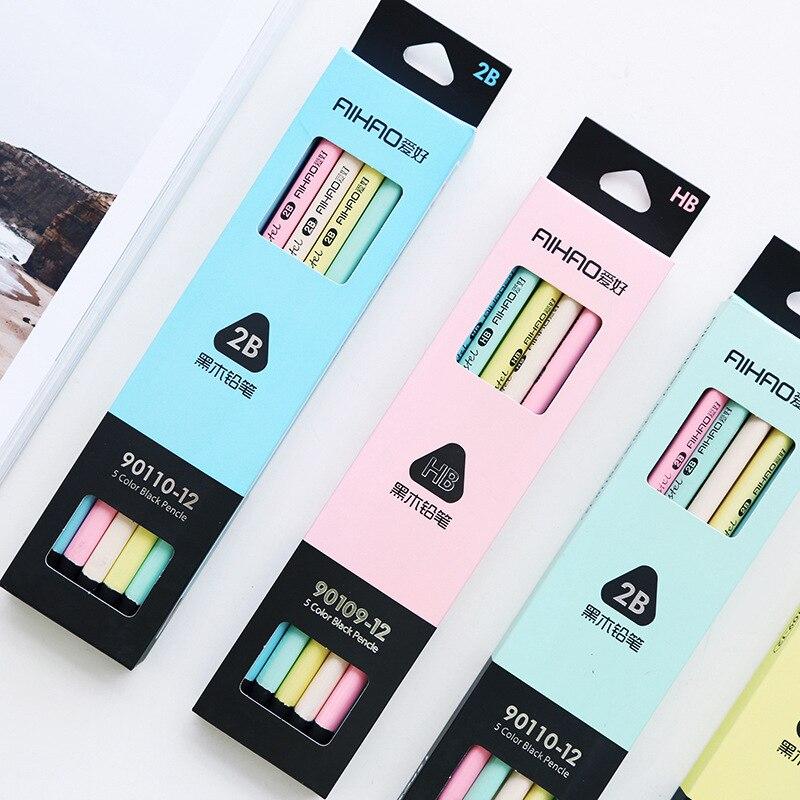 Lote de 12 unidades de lápices de madera en Color negro y Pastel, de 5 colores, estándar 2B HB, lápices de macarrón para escribir, dibujar, material de papelería para escuela y oficina