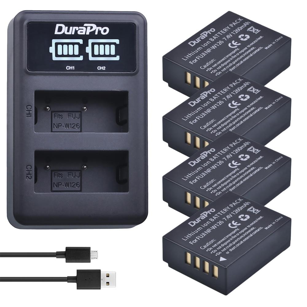 Durapro 4pc NP-W126 NP W126 batería Cámara + Cargador USB Led para Fujifilm HS50 HS35 HS33 HS30EXR XA1 XE1 X-Pro1 XM1 X-T10 Cámara