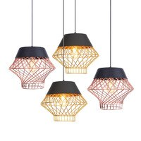 Bird's Nest Chandelier Ceiling Led 110-220v Indoor Room Gold Lamp Shade Iron Design Light Fixtures Retro Hanging Rope Droplight