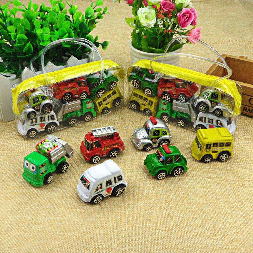 6 pièces/lot retirer voiture jouets voiture enfants voiture de course bébé Mini voitures dessin animé retirer Bus camion enfants jouets pour enfants garçon cadeaux