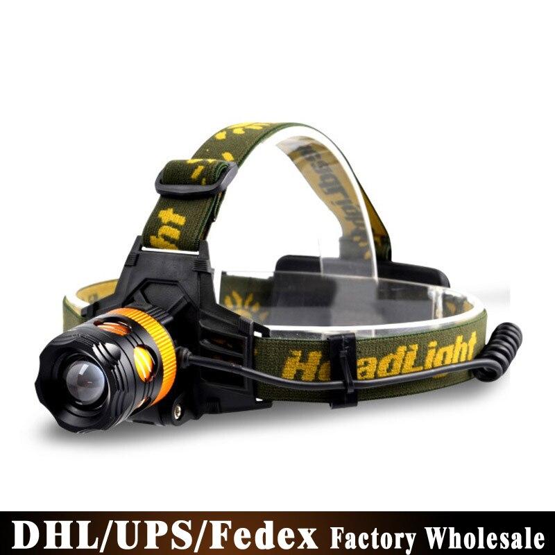 DHL 50 unids/lote Zoom faro resplandor cargando LED10W amarillo fuente de luz pesca caza