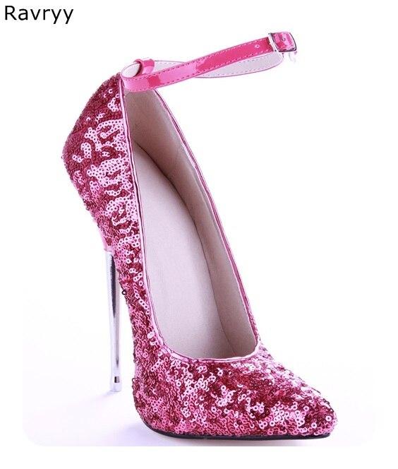 Lentejuelas centelleantes para mujer, zapatos de tacón alto sexis con punta en pico y tacón de metal, zapatos de tacón para mujer, zapatos de baile de fiesta y club Show