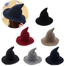 2019 Women Modern Witch Hat Foldable Costume Sharp Pointed Wool Felt Halloween Warm Autumn Winter Cap