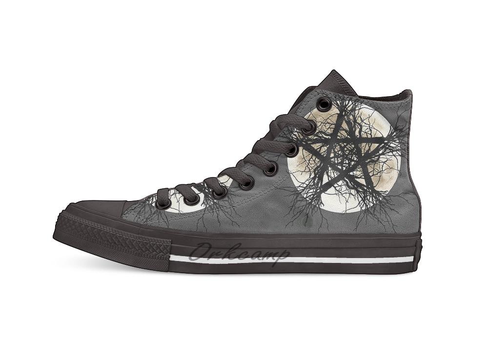 Pentagramme et lune décontracté haut chaussures en toile baskets chaussures de marche légères