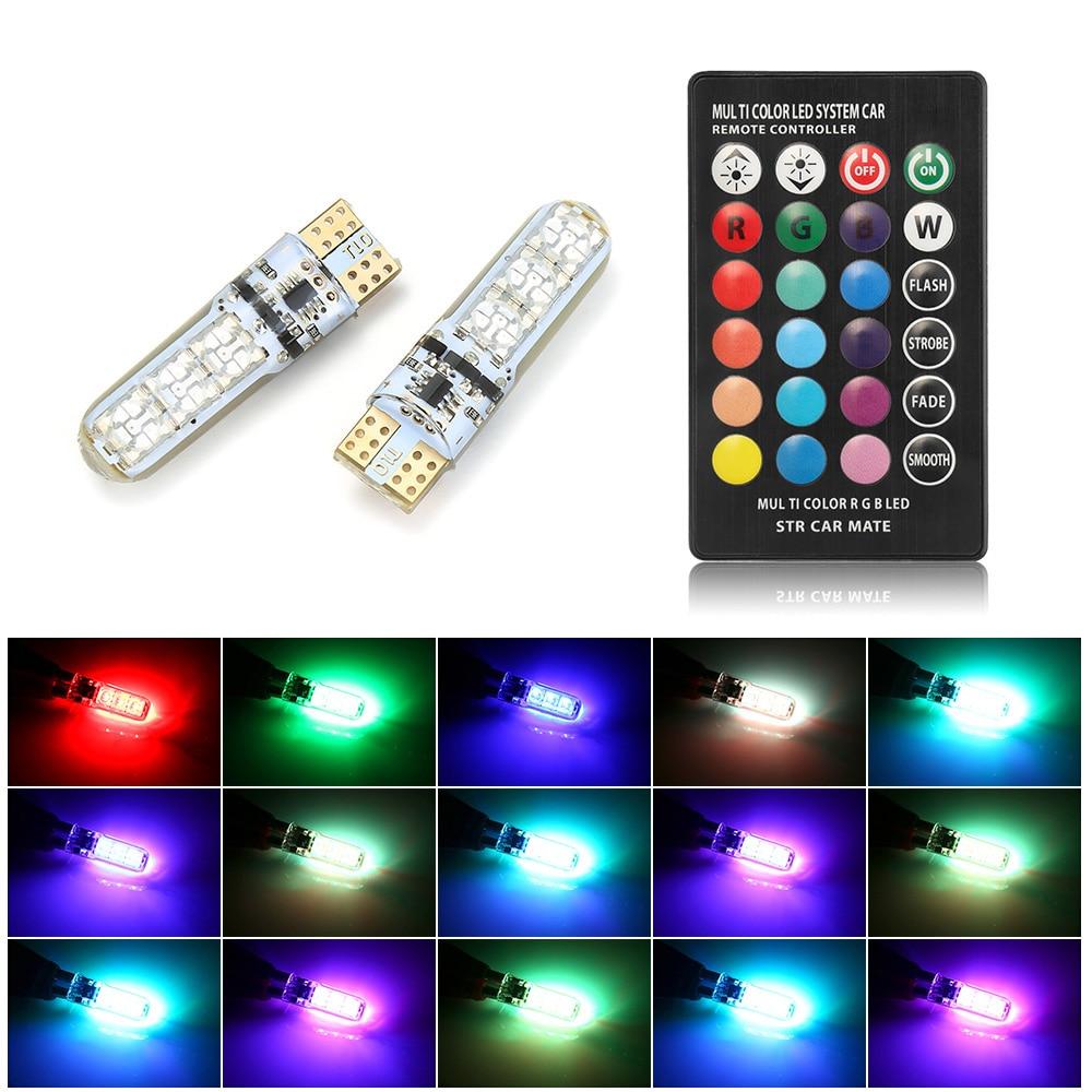 2 uds RGB LED 12V T10 LED RGB 5050 6SMD controlador inalámbrico remoto lectura cuña luz freno señal de giro Leds luces de advertencia
