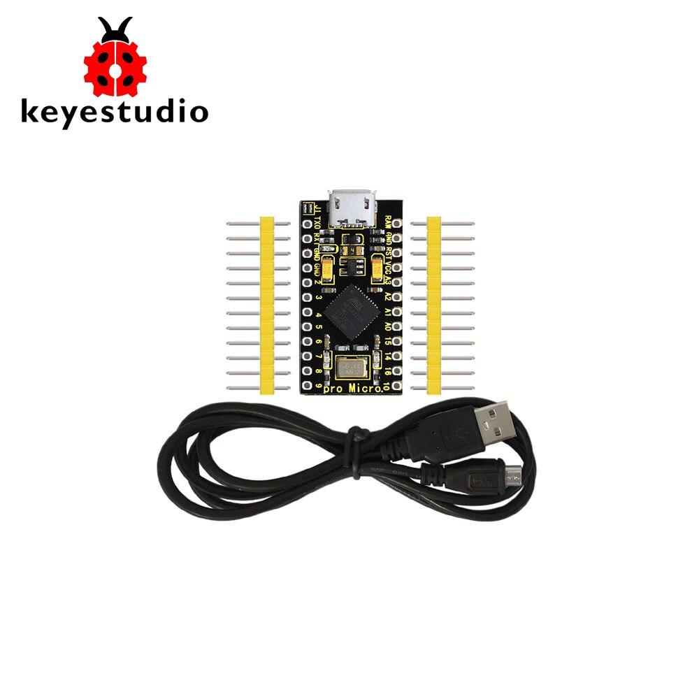 Плата для разработки Keyestudio PRO MICRO ATmega32U4 3,3 В/16 МГц с 2-рядным штырьковым коннектором для Arduino Leonardo