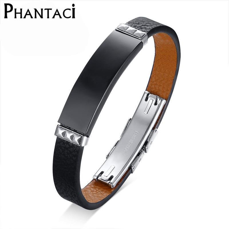 No fade 316L Stainless Steel Bracelets&Bangles Men Genuine Leather Band Cuff Wrap Bracelet Male Black Jewelry Adjustable Size