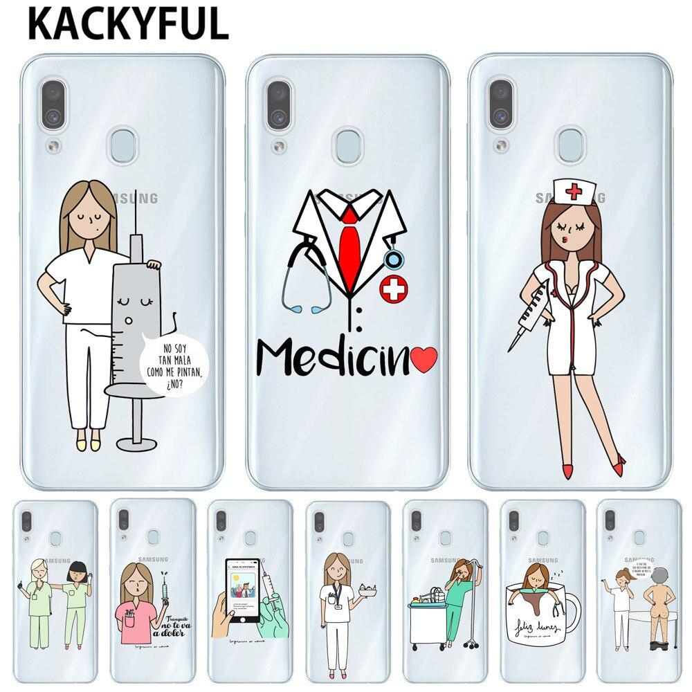 España de dibujos animados médico enfermera funda para Samsung Galaxy A30 A10 A50 A20 A40 A70 funda de móvil suave de TPU Coque Capa Fundas A305