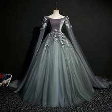 100% ثوب حفلة كوسبلاي للقرن التاسع عشر رمادي غامق حقيقي فستان عصر النهضة فستان الملكة الفيكتوري حسناء للحفلات