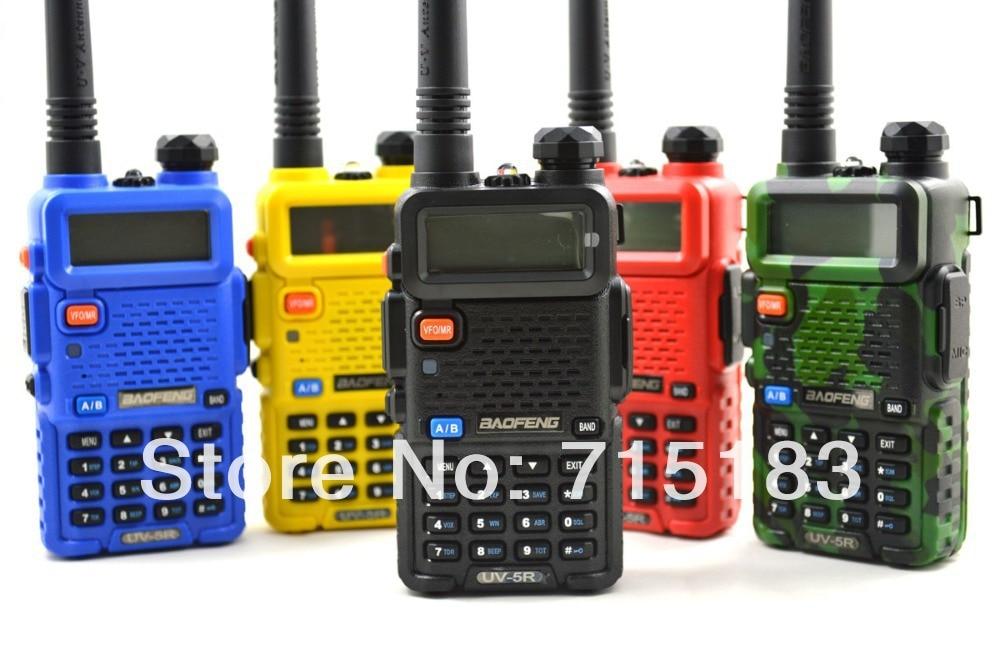 2pcs/lot Portable BAOFENG UV-5R Walkie Talkie 136-174/400-520Mhz Dual Band UHF/VHF Radio amateur radio UV5R with free Earpiece