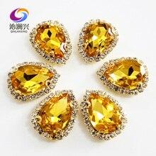 Amarelo dourado 10 unidades/pacote de fundo de Ouro fivela De Cristal Superior da classe de Vidro, forma de Gota sew em strass, casamento Diy decoração