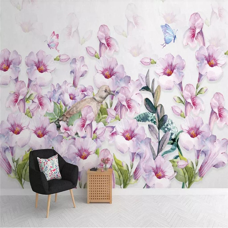 3D wallpaper creative Nordic watercolor hand-painted floral background wall professional production mural photo wallpaper professional 10x20ft hand painted column arch scenic muslin photo backdrop background customized service size photos