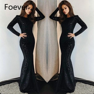 2020 Black Long Sleeves Sequins Mermaid Long Prom Dresses Crew Neck Sweep Train Formal Party Evening Dresses