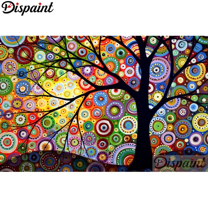 """Dispaint Full cuadrado/redondo taladro 5D DIY pintura de diamante """"paisaje de árbol abstracto"""" bordado punto de cruz 5D decoración para el hogar A10607"""