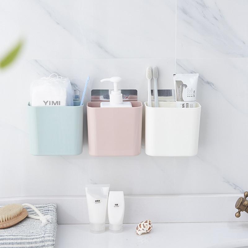Creative Free Punching Storage Rack Wall-mounted Seamless Storage Box Plastic Toothbrush Hanging Basket Bathroom Organization