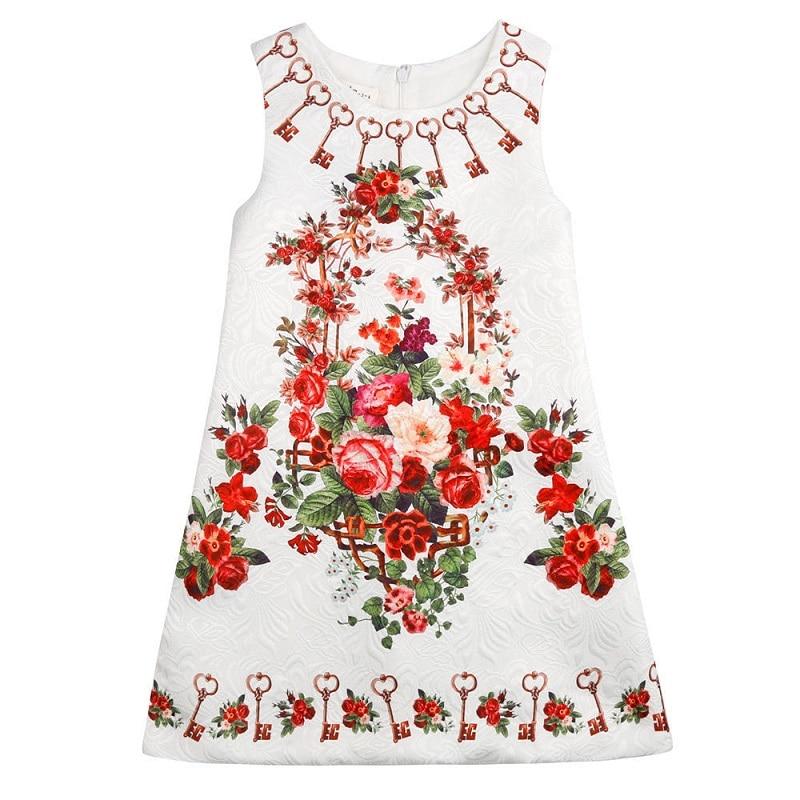 Детские платья, 2017 летнее платье для девочек, платье принцессы для девочек, детская одежда с цветочным принтом, платье для малышей, От 5 до 10 л...