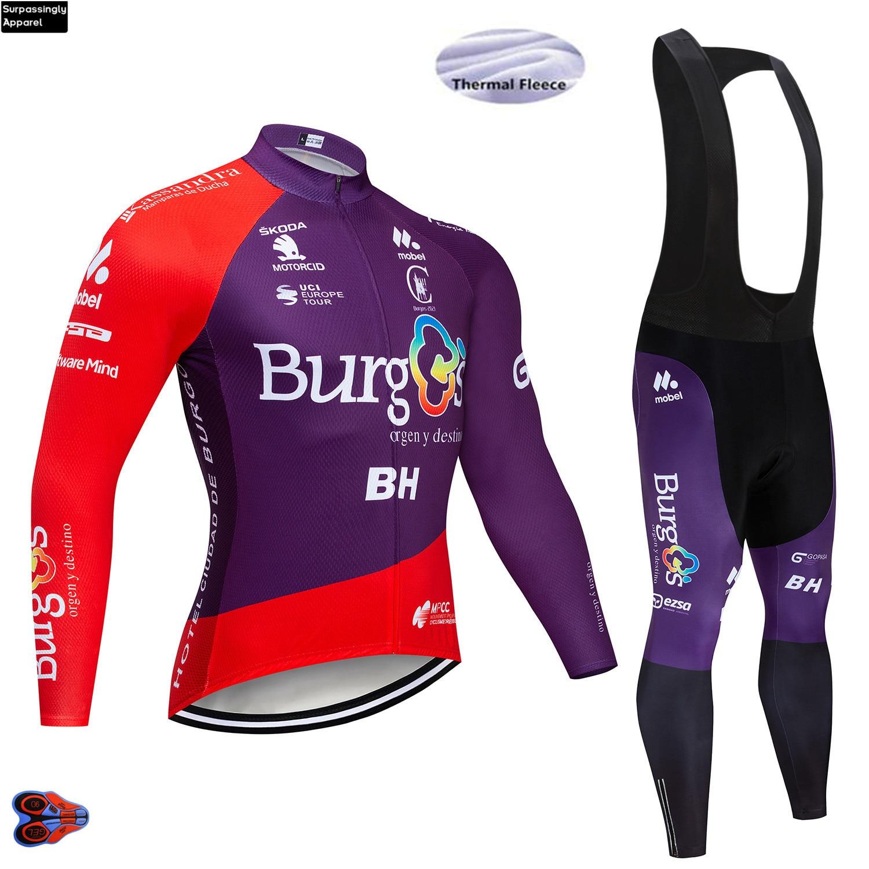 Men BH Team Winter Fleece Cycling Jersey Purple Long Sleeve Pro Cycling Clothing 2019 MTB Bicycle Jersey Bike Clothes Sportswear