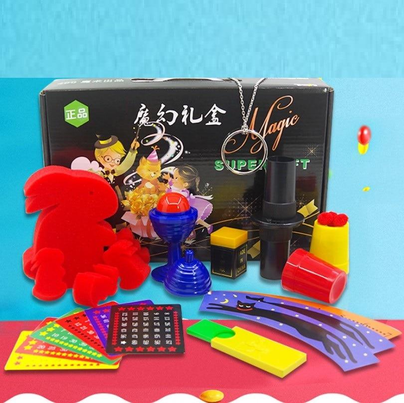 Juguetes mágicos nuevos accesorios mágicos Set con caja para magos Street Stage magia trucos jugar diferentes tipos niños regalos YH1838