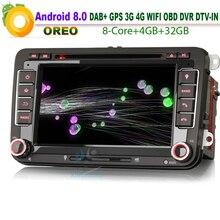 "7 ""Android 8,0 DAB + GPS Autoradio coche Radio Estéreo SD DVR DTV-IN USB GPS WiFi 3G RDS BT CD DVD Bluetooth para VW Polo"