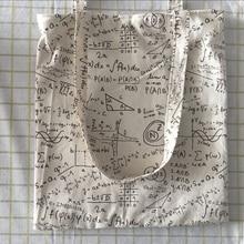 Bolsa de compra ecológica de algodón y lino de YILE, bolso de hombro para libro Algebra Expression negro o marrón 526b