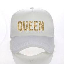 퀸 골든 반짝이 인쇄 트럭 캡 폴리 에스터 메쉬 여성 고품질 Snapback 모자 무료 배송